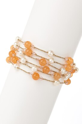 Savvy Cie 5-6mm Freshwater Pearl & Orange Agate Layered Bracelet