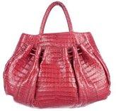 Nancy Gonzalez Ruched Crocodile Handle Bag