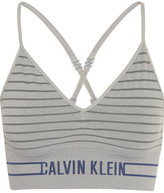 Calvin Klein Underwear Striped Stretch-jersey Soft-cup Bra - Stone
