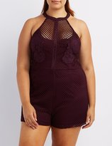 Charlotte Russe Plus Size Embroidered Mesh Romper