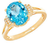 Lord & Taylor Blue Topaz, Diamond and 14K Yellow Gold Ring