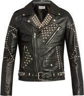 Saint Laurent Stud-embellished leather biker jacket