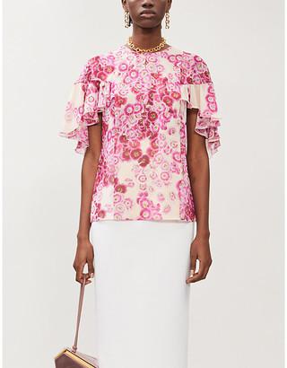 Giambattista Valli Floral-pattern silk-crepe top