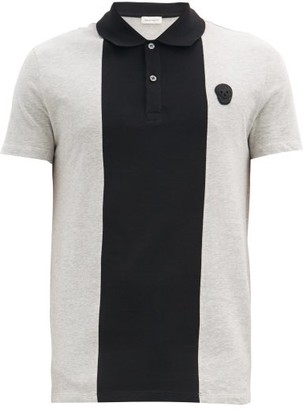 Alexander McQueen Zardozi-skull Panelled Cotton-jersey Polo Shirt - Black Multi
