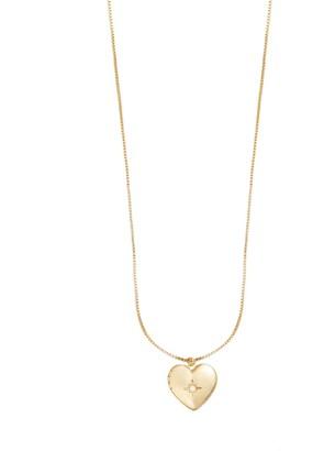 Wanderlust + Co Heart Gold Locket Necklace