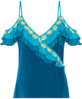 Peter Pilotto Ruffled Crochet-trimmed Silk Crepe De Chine Camisole - Storm blue