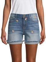 Driftwood Women's Floral Embroidered Cuffed Jean Shorts