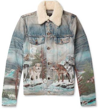 Amiri Shearling-Trimmed Distressed Printed Denim Trucker Jacket