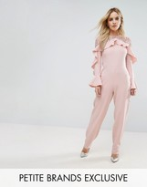 John Zack Petite Ruffle Front Detail Jumpsuit With Lace Sleeve