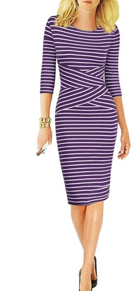 REPHYLLIS Women 3/4 Sleeve Striped Wear to Work Business Cocktail Pencil Dress S Black