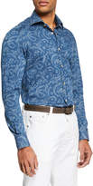 Kiton Men's Chambray Paisley Sport Shirt