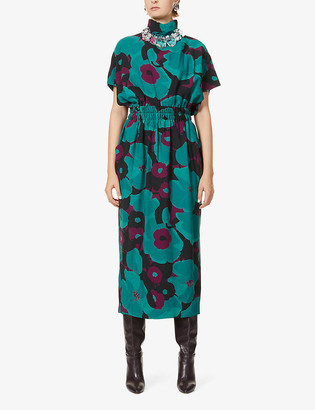 Dries Van Noten Floral-print woven midi dress