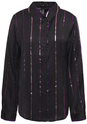 J Brand Metallic Striped Satin Shirt