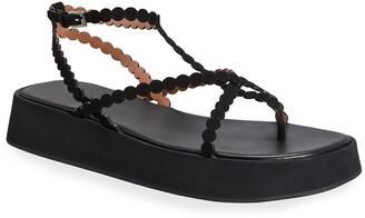 Alaia Dot Leather Ankle-Strap Platform Sandals