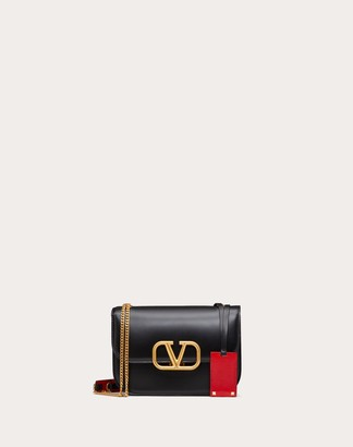 Valentino Small Vlock Brushed Calfskin Shoulder Bag Women Black 100% Pelle Di Vitello - Bos Taurus OneSize