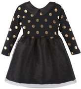 Andy & Evan Girls 2-6x Gold Foil Sweater Dress