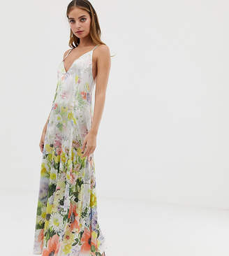 Asos DESIGN Petite cami satin trapeze maxi dress in meadow floral print-Multi