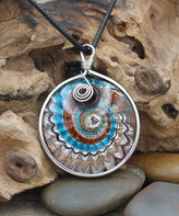 Besheek BeSheek Women's Necklaces Blue/Brown - Brown & Black Leather Wave Glass Pendant Necklace