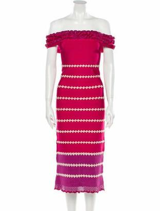 Herve Leger Striped Midi Length Dress Pink