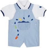 Florence Eiseman Fish Appliqué Polo Shirt & Overalls Set-BLUE