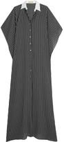 Michael Kors Oversized Pinstriped Silk Maxi Dress - Black