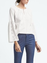 Banana Republic Easy Care Eyelet Flare-Sleeve Popover Shirt