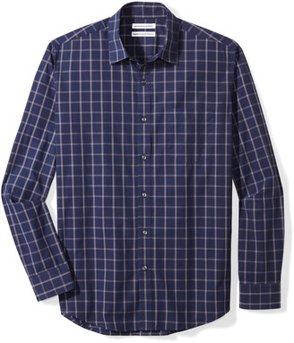 Amazon Essentials Long-sleeve Plaid Shirt Blue (Navy Windowpane) Medium