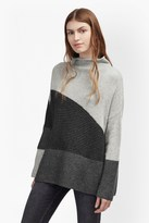 French Connection Patchwork Tonal High Neck Jumper
