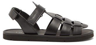 Prada Logo-debossed Leather Fisherman Sandals - Black