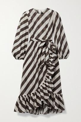 Zimmermann Lulu Belted Asymmetric Ruffled Striped Cotton-voile Dress - Brown