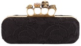 Orchid Lacquered Lace Knuckle Box Clutch
