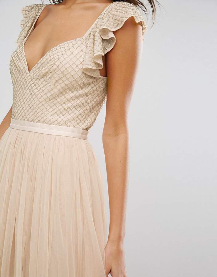 Needle & Thread Swan Tulle Maxi Dress With Frill Sleeve