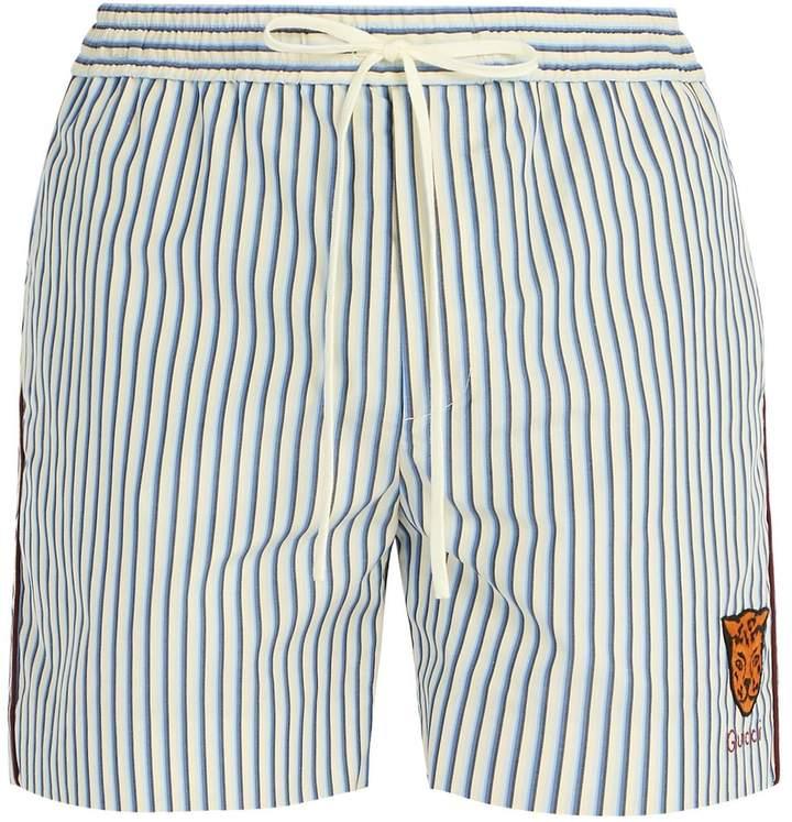 Gucci Striped tiger-appliqué cotton-poplin shorts