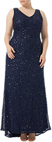 Adrianna Papell Plus Size V-Neck Beaded Gown, Navy