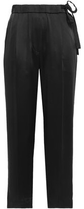 Brunello Cucinelli Cropped Gathered Satin Tapered Pants