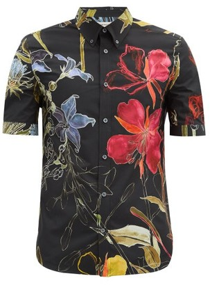 Alexander McQueen Deconstructed Floral-print Cotton Shirt - Black Multi