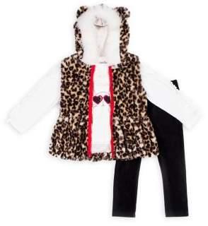 Little Lass Little Girl's 3-Piece Totally Fabulous Faux-Fur-Trim Vest, Top & Leggings Set