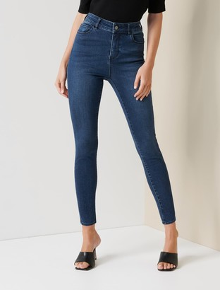 Forever New Zoe Petite Mid-Rise Ankle Grazer Jeans - Barbados Blue - 10