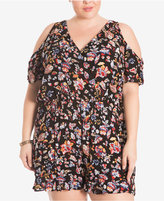 Eyeshadow Trendy Plus Size Cold-Shoulder Romper