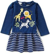 Mud Pie Baby Girls 9-18 Months Go Wild Animal Striped Sweatshirt Dress