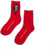 Laines London Bright Red Bamboo Socks With Crystal Parrot Brooch