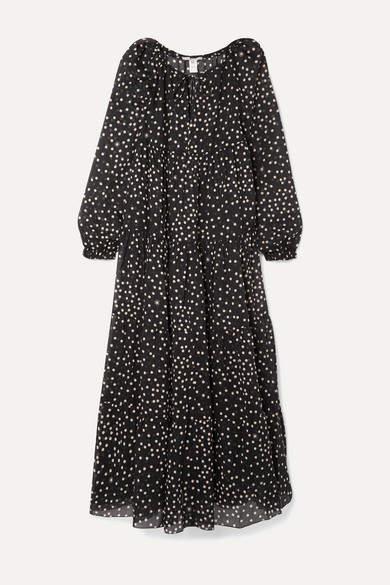 Stella McCartney Tiered Polka-dot Cotton And Silk-blend Voile Maxi Dress - Black