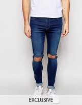 Reclaimed Vintage Washed Super Skinny Jeans With Knee Cut Outs