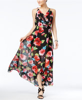XOXO Juniors' Floral-Print Lace-Up-Back Maxi Dress