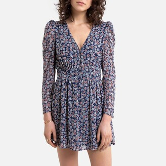 Pepe Jeans Floral Print Wrapover Mini Dress with Long Sleeves