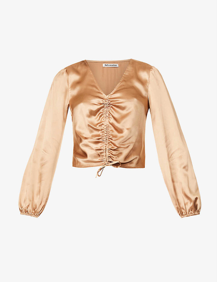 Thumbnail for your product : Reformation Dean ruche-front silk-satin shirt