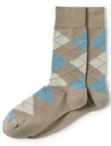 Lands' End Men's Seamless Toe Cotton Novelty Pattern Dress Socks (1-pack)-Brown