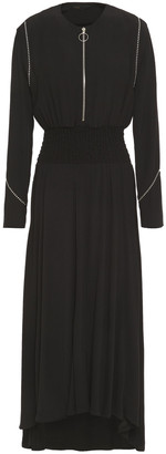 Maje Zip-detailed Studded Crepe Midi Dress