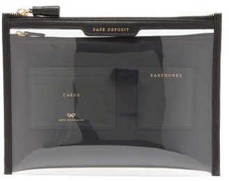 Anya Hindmarch Safe Deposit Leather And Tpu Pouch - Black