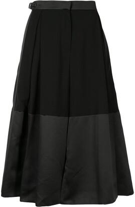 Sacai Contrast-Panel Midi Skirt